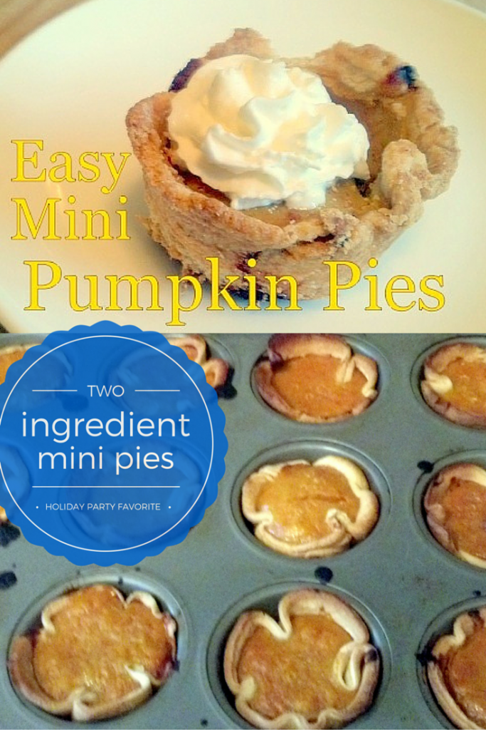 Perfect treat for your holiday party - Mini pumpkin pies are really easy, only two ingredients, adorable, and taste delicious. Pre-made pie crust and pumpkin pie filling or homemade, this holiday dessert is fantastic!