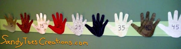 Favorite Pinterest Activities 2: Counting by Fives with Five Finger Handprints Wall Art