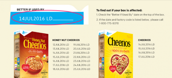 Cheerios voluntary recall for Gluten Free Cheerios and Gluten Free Honey Nut Cheerios