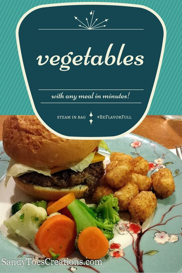 Fresh tasting steamed vegetables in minutes with no fuss, no mess for any meal! Even burger night! Kids will love the new Flavor Full varieties. #BeFlavorFull and eat healthy vegetables with every family meal