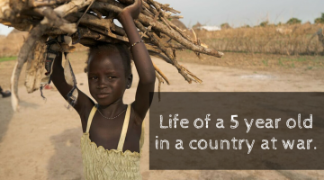 5 year spends all day collecting wood and water. More than a statistic. Help kids in #SouthSudan who have only ever known war @CARE #ad