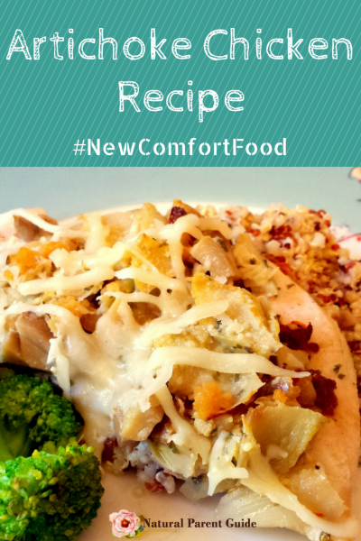 Artichoke Chicken Recipe is a healthy meal your family will love. This delicious dinner is quick and easy to cook. Plus more NewComfortFood chicken dinner recipes AD | family meals | dinner ideas | healthy dinners