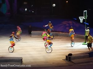 basketball on unicycles at the RinglingBros and Barnum & Bailey Out of This World New Circus