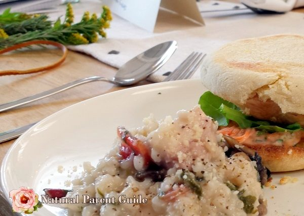 home made chicken sandwich and mushroom risotto Heathy Clean eating chicken dinner recipes NewComfortFood ad