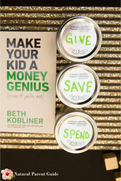 3 jars rule to teach kids about money. Give, save, spend #moneygenius ad @BethKobliner | teach kids about money | thrify living | frugalliving | kids and money | teach kids saving | saving money | money lessons for kids | money smart kids