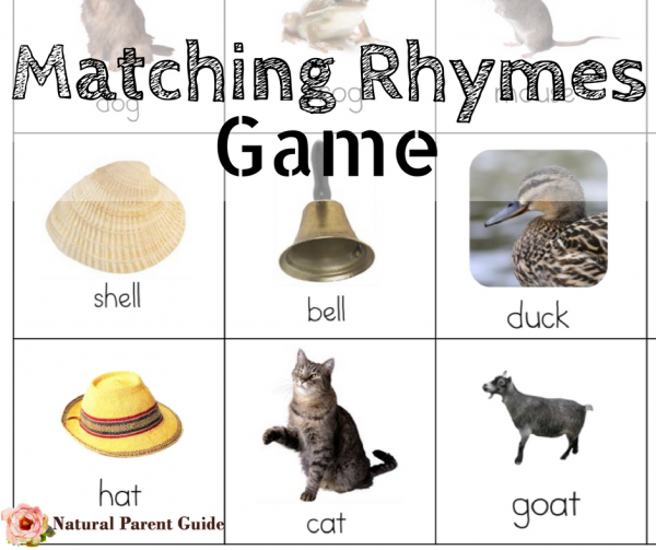 Matching Rhymes game to learn rhyming | homeschooling | poetry unit study | early learning literature | early reading | preschool | early elementary | poems for kids | poetry crafts | homeschooling curriculum