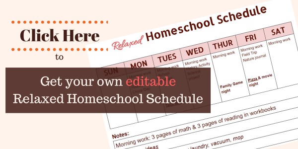 editable relaxed homeschool schedule